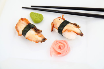 Eel nigiri, sushi.  Traditional japanese food