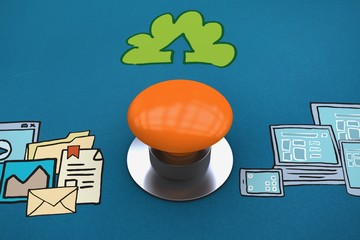 Composite image of orange push button
