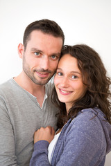 Couple in love on a white background