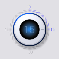 Electronic Dial Timer 15 Seconds. Vector
