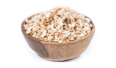 Sesame in a bowl (isolated)