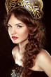 Fashion Russian girl in national head decor, makeup. Beauty Vogu