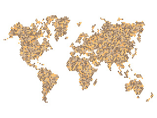 Dotted Brown World Map Isolated on White. Vector