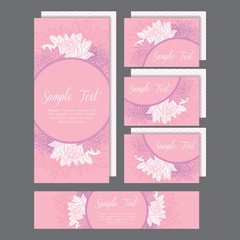 Set of wedding invitations card with lily pink
