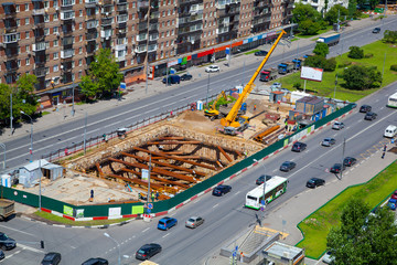 Construction of the metro line