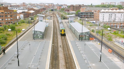 Train station and railway tracks in Birmingham, England.