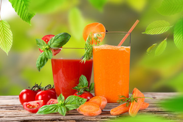 Fresh carrot and tomato juice, healthy drinks.