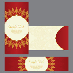 greeting cards in east style on red background banner