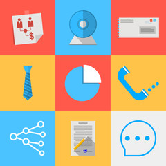 Flat icons for outsource communication