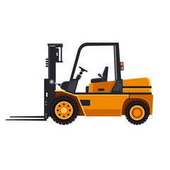 Yellow Forklift Loader Truck Isolated on White Background.