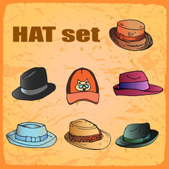 cartoon set hats