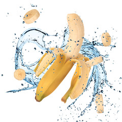 Banana with water splash
