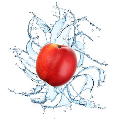 Fresh Nectarine with water splash