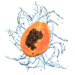 Fresh papaya with water splash