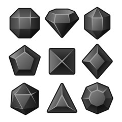 Set of Black Gems for Match3 Games. Vector