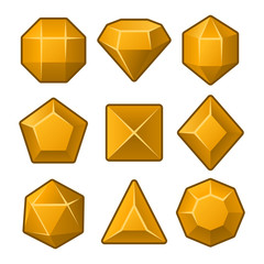 Set of Orange Gems for Match3 Games. Vector