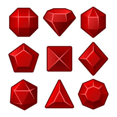 Set of Red Gems for Match3 Games. Vector