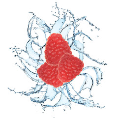 Fresh raspberries in water splash