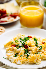 Fresh breakfast food. Eggs and orange juice.