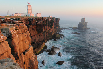 Cabo Carvoeiro lighthouse in sunset light