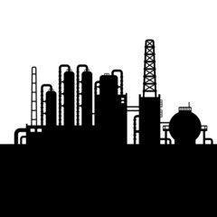 Oil Refinery Plant and Chemical Factory Silhouette 3. Vector