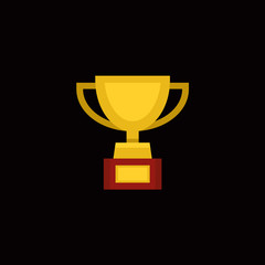 Trophy Award Cup in Flat Design Style. Vector