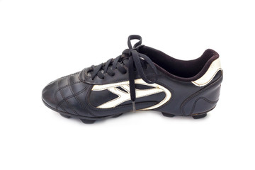 vintage football shoes on the white background