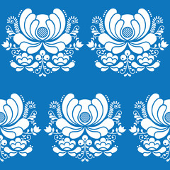 Norwegian folk art seamless white pattern on blue background