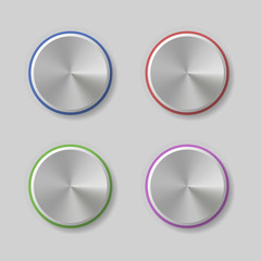 Four Volume Control Dial Button with Color Light Rings Vector