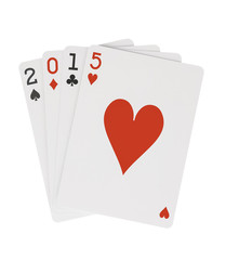 Year 2015 Playing Cards Heart on Top Clipping Path