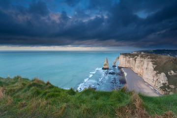 stormy sky over cliffs in France
