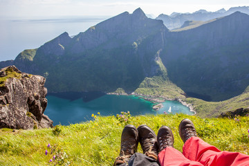 Beautiful Norwegian landscape - feet and fjord