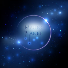 Space planet background with blue light and stars around