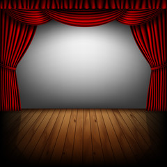 red curtain and cinema screen