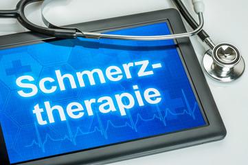 Tablet mit dem Text Schmerztherapie auf dem Display