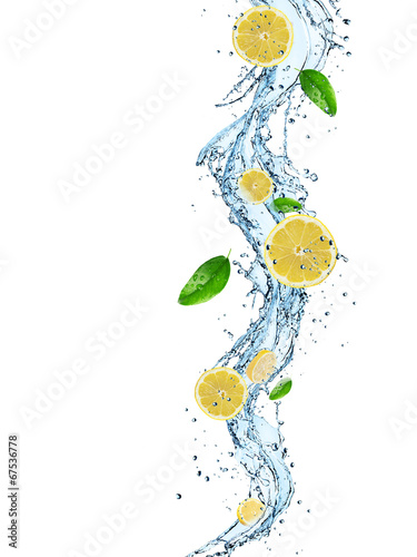 canvas print picture Fresh Fruit with water splash