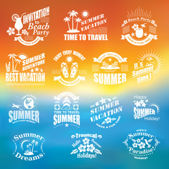 SUMMER design elements .  Travel and vacation labels.