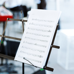 music notes on music stand