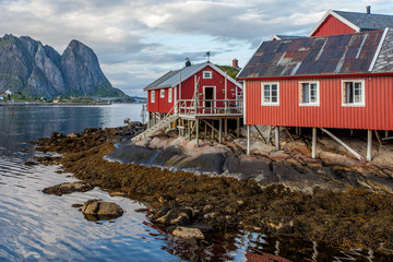 Beautiful Norwegian landscape - fjord and fishing cottage