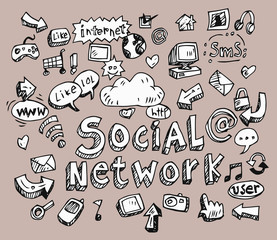 set of social media sign and symbol doodles