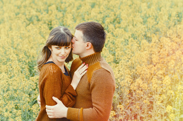 attractive sensual couple in love outdoor into the depth of beau