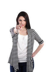 Portrait of an attractive young woman pointing her finger.
