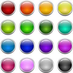 Glass shiny buttons set