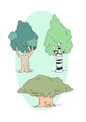 Collection trees cartoon