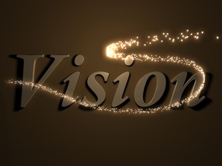 vision- 3d inscription with luminous line with spark