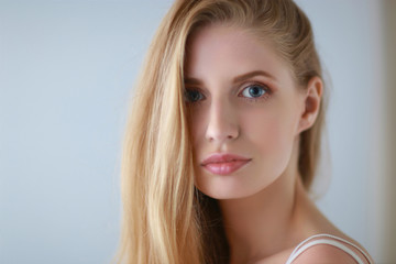 Portrait of young beautiful girl with. Make up.