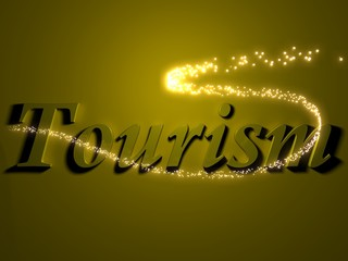 tourism - 3d inscription with luminous line with spark