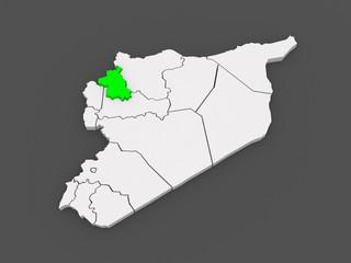 Map of Idlib. Syria.