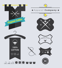 Set of Apparel Company Retro Vintage Labels and Badge
