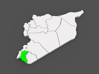 Map of Daraa. Syria.